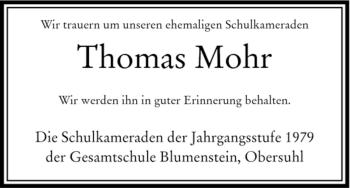 Traueranzeige von Thomas Mohr von HERSFELDER ZEITUNG