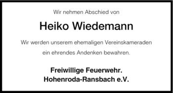 Traueranzeige von Heiko Wiedemann von HERSFELDER ZEITUNG