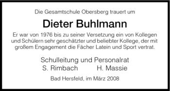 Traueranzeige von Dieter Buhlmann von HERSFELDER ZEITUNG