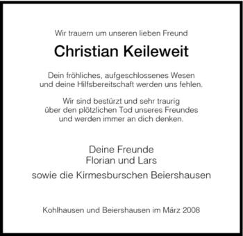 Traueranzeige von Chritstian Keileweit von HERSFELDER ZEITUNG