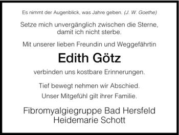 Traueranzeige von Edith Götz von HERSFELDER ZEITUNG