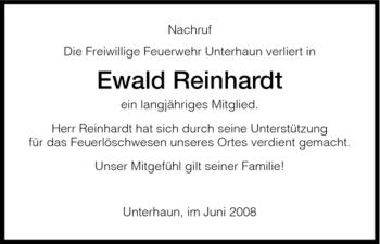Traueranzeige von Ewald Reinhardt von HERSFELDER ZEITUNG
