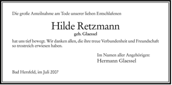 Traueranzeige von Hilde Retzmann von HERSFELDER ZEITUNG