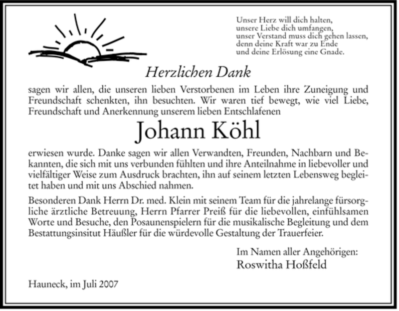 Traueranzeige für Johann Koehl vom 19.07.2007 aus HERSFELDER ZEITUNG