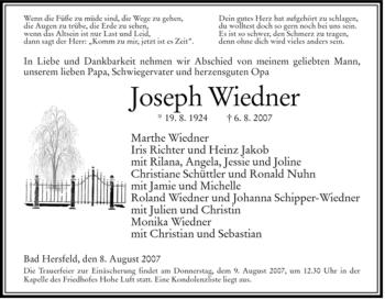 Traueranzeige von Joseph Wiedner von HERSFELDER ZEITUNG