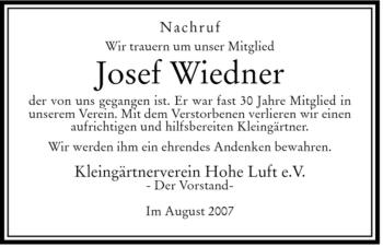 Traueranzeige von Josef Wiedner von HERSFELDER ZEITUNG