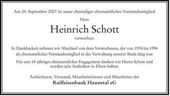 Traueranzeige von Heinrich Schott von HERSFELDER ZEITUNG