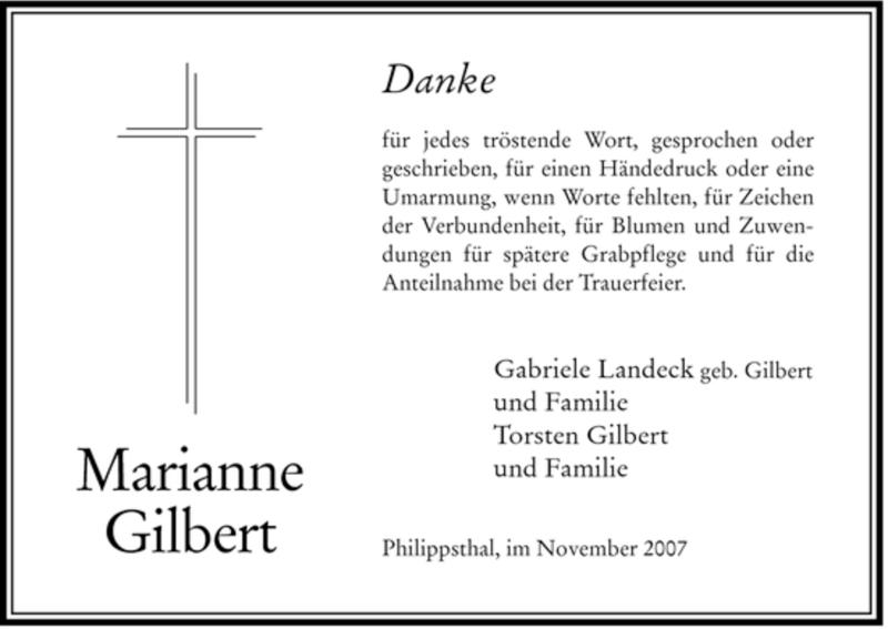 Traueranzeige für Marianne Gilbert vom 27.11.2007 aus HERSFELDER ZEITUNG