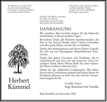 Traueranzeige von Herbert Kümmel von HERSFELDER ZEITUNG