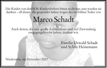Traueranzeige von Marco Schadt von HERSFELDER ZEITUNG