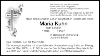 Traueranzeige von Maria Kuhn von HERSFELDER ZEITUNG