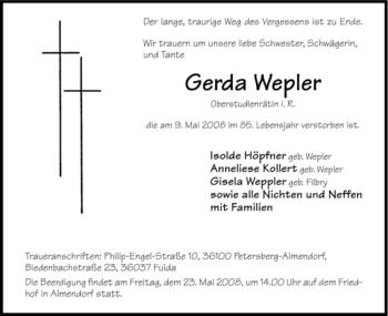Traueranzeige von Gerda Wepler von HERSFELDER ZEITUNG