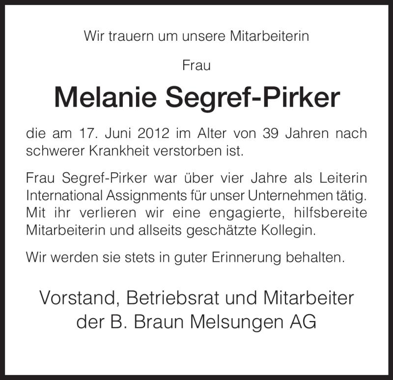 Traueranzeige für Melanie Segref-Pirker vom 02.07.2012 aus HERSFELDER ZEITUNG