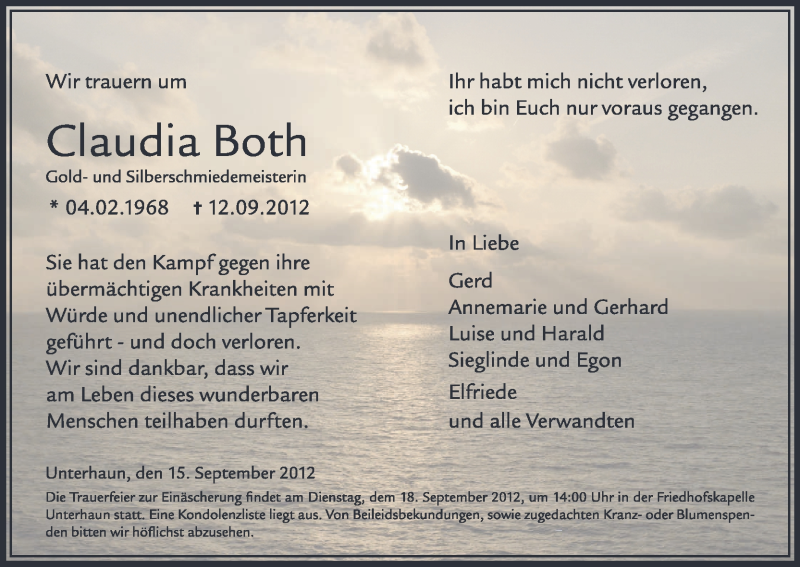 Traueranzeige für Claudia Both vom 15.09.2012 aus Hersfeld