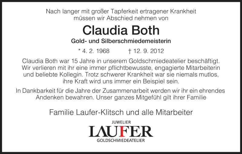 Traueranzeige für Claudia Both vom 19.09.2012 aus Hersfeld