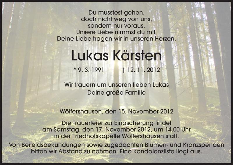 Traueranzeige für Lukas Kärsten vom 15.11.2012 aus Hersfeld