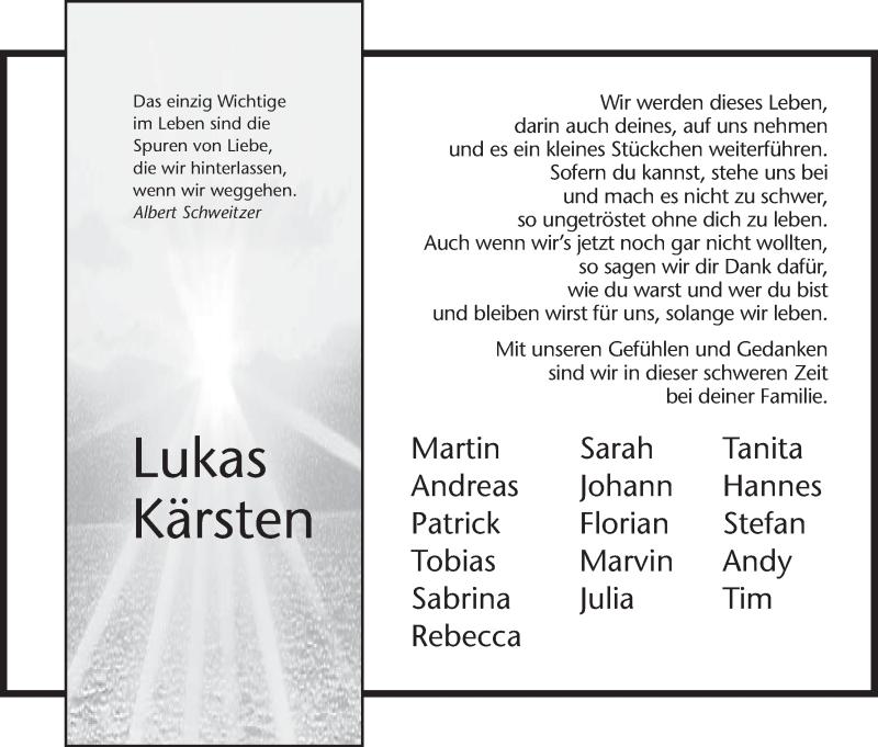 Traueranzeige für Lukas Kärsten vom 16.11.2012 aus Hersfeld