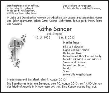 Traueranzeige von Käthe Sander von Hersfeld