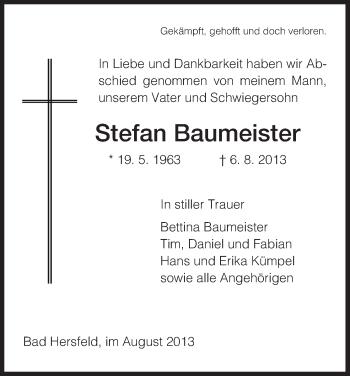 Traueranzeige von Stefan Baumeister von Hersfeld