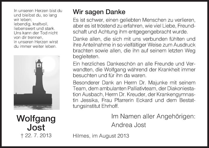 Traueranzeige für Wolfgang Jost vom 24.08.2013 aus Hersfeld