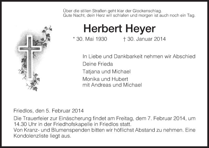 Anzeige von  Herbert Heyer