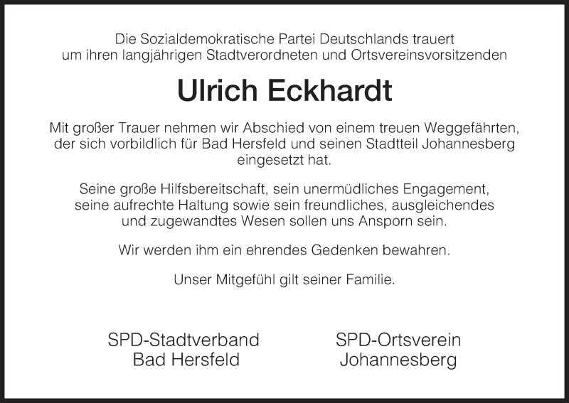 Traueranzeige für Ulrich Eckhardt vom 21.06.2014 aus Hersfeld