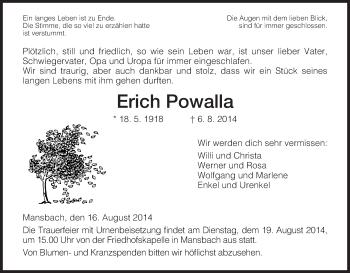 Traueranzeige von Erich Powalla von Hersfeld
