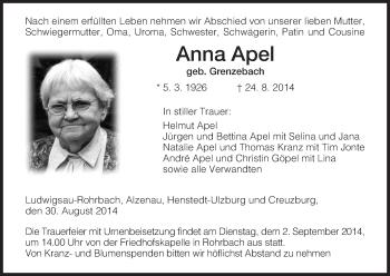Zur Gedenkseite von Anna