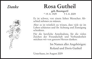Traueranzeige von Rosa Gutheil von HERSFELDER ZEITUNG