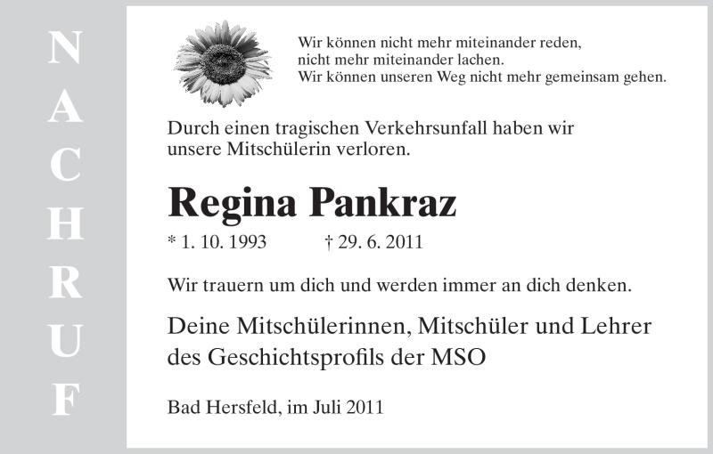 Traueranzeige für Regina Pankraz vom 08.07.2011 aus HERSFELDER ZEITUNG