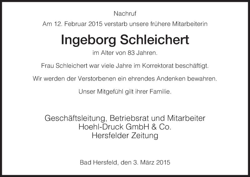 Anzeige von  Ingeborg Schleichert
