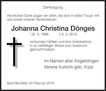 Zur Gedenkseite von Johanna Christina