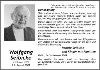 Traueranzeige von Wolfgang Seibicke von HERSFELDER ZEITUNG