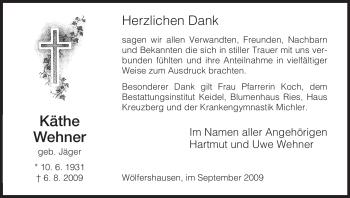 Traueranzeige von Käthe Wehner von HERSFELDER ZEITUNG