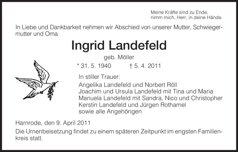 Traueranzeige für Ingrid Landefeld vom 09.04.2011 aus HERSFELDER ZEITUNG