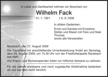 Traueranzeige von Wilhelm Fack von HERSFELDER ZEITUNG