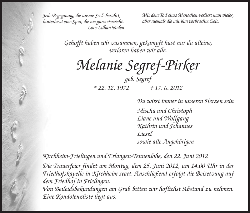 Traueranzeige für Melanie Segref-Pirker vom 22.06.2012 aus HERSFELDER ZEITUNG