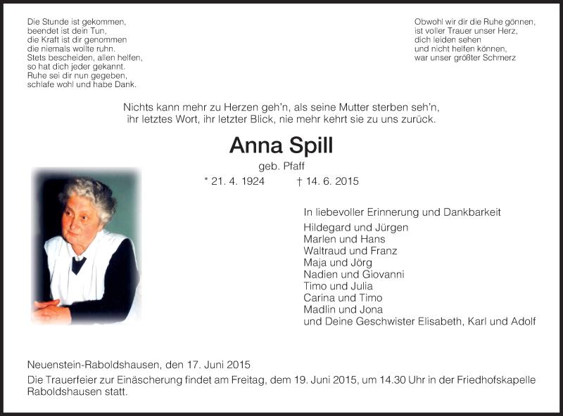 Traueranzeige für Anna Spill vom 17.06.2015 aus Hersfeld