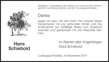 Traueranzeige von Hans Schiebold von HERSFELDER ZEITUNG