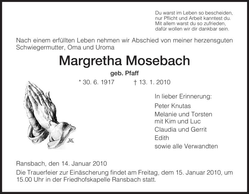Traueranzeige für Margrethe Mosebach vom 14.01.2010 aus HERSFELDER ZEITUNG