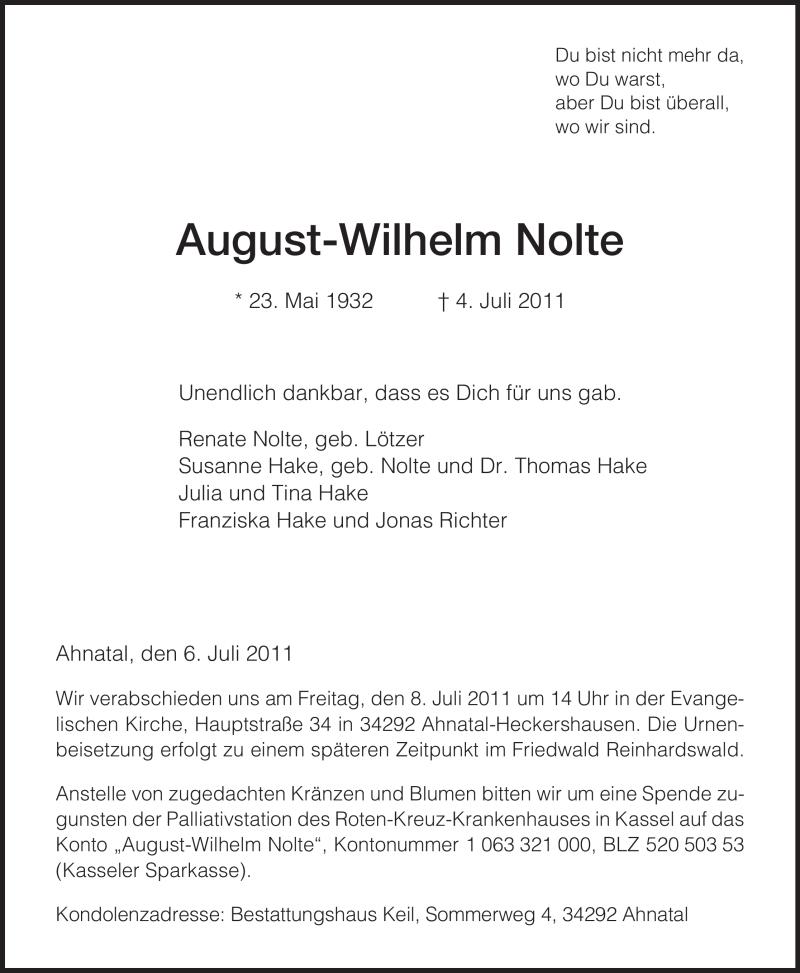 Traueranzeige für August-Wilhelm Nolte vom 06.07.2011 aus HERSFELDER ZEITUNG