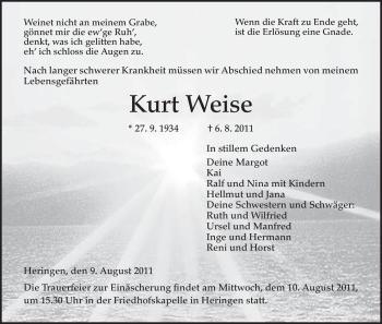 Traueranzeige von Kurt Weise von HERSFELDER ZEITUNG