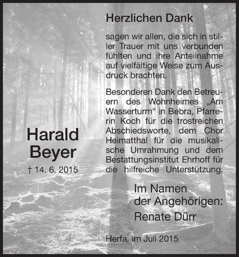 Traueranzeige für Harald Beyer vom 10.07.2015 aus Hersfeld