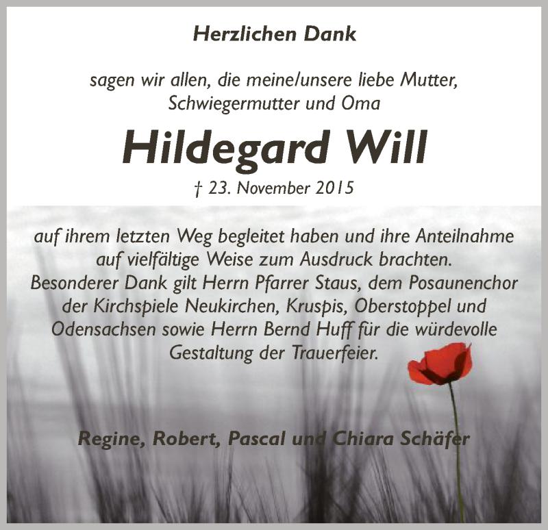 Traueranzeige für Hildegard Will vom 24.12.2015 aus Hersfeld