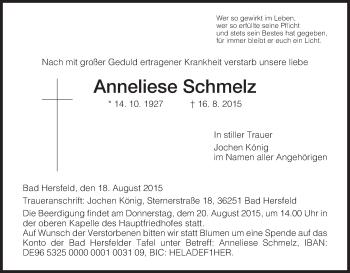 Traueranzeige von Anneliese Schmelz von Hersfeld