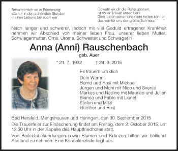 Traueranzeige von Anna Rauschenbach von Hersfeld