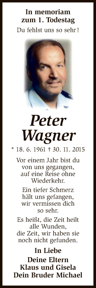 Anzeige von  Peter Wagner