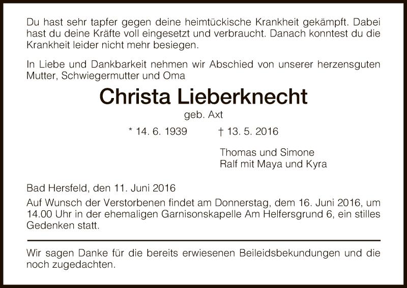 Traueranzeige für Christa Lieberknecht vom 11.06.2016 aus Hersfeld