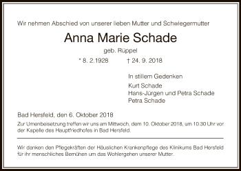 Traueranzeige von Anna Marie Schade von Hersfeld