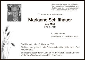 Traueranzeige von Marianne Schiffhauer von Hersfeld